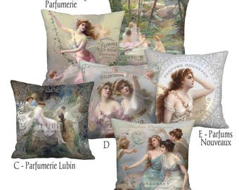 French Perfume and Art Linen Cotton Pillow Cover - Pillow - 16x16 18x18 20x20 22x22 24x24 26x26 28x28 Inch Cushion Cover