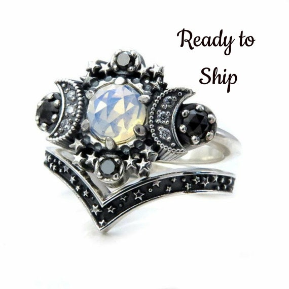 Ready to Ship Size 6 - 8 Cosmos Moon and Star Ring - Opalite Quartz with Black and White Diamonds with Stardust Chevron Wedding Band