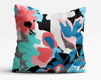 Floral Print Cushion, Pillows, Throw Pillow, Tropical, Housewarming Gift, Home Decor, Colourful, Black, White, Abstract, Botanical Print