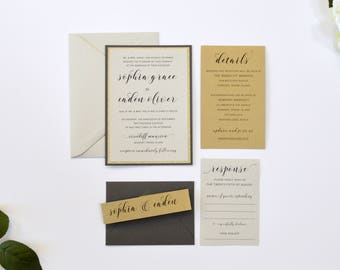 Gold Wedding Invitations, Gray, Gold and Gold Glitter, Modern Calligraphy Wedding Invitations, Gold and Gray S022-Sophia