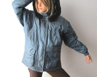 Vintage Women's Parka Coat Winter Skiing Jacket Faux Fur Trim Parka Coat Large Size Schneider Austrian Jacket Detachable Hood Coat