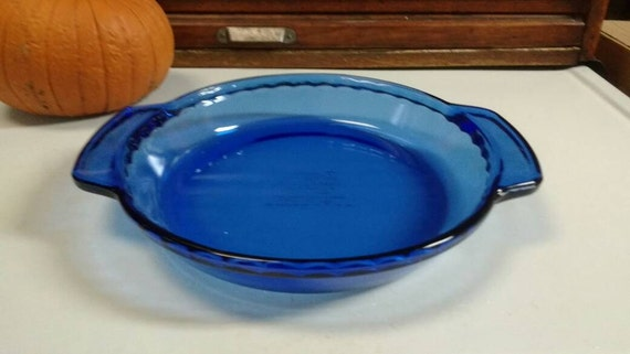 Cobalt Blue Anchor Hocking Deep Pie Plate 9 Inch Glass Pan 1075 1 Qt ~ Anchor Ovenware Handled ~ Pie Crust Crimped Edge ~ Cookware ~ Mint! from ... & Cobalt Blue Anchor Hocking Deep Pie Plate 9 Inch Glass Pan 1075 1 Qt ...