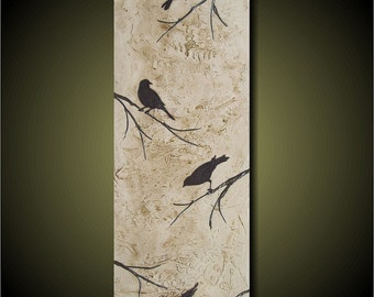 Four Birds- 12x36 Beautiful Contemporary Textured Painting