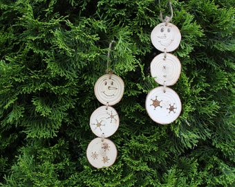 Wood Round Snowman Ornament - Twine