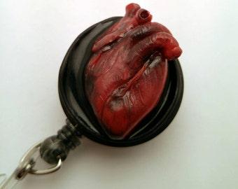 Anatomical heart badge reel handmade