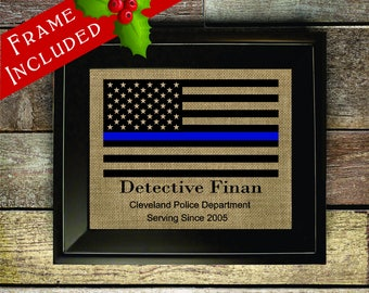 Thin Blue Line Gift American Flag Blue Line Police Graduation Gift Police Officer Gift Law Enforcement Police Department Gifts (pol323)