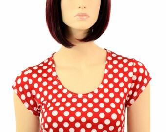 Red & White Polka Dot Scoop Neck Cap Sleeve Lycra Spandex Crop Top -E7701