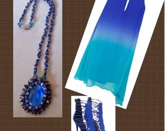 Blue Beadwoven Necklace,