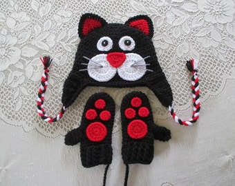 Valentine's Day - Kittty Cat Crochet Hat and Mitten Set - Photo Prop - Available in Baby to Toddler Size - Any Color Combination