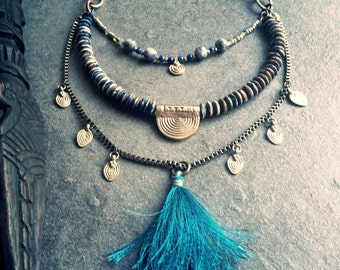 African Necklace,Tribal Necklace,Tassel Necklace,Beaded Boho Necklace,Layering Necklace,Indian Necklace,Turquoise Necklace Tassel,Gyspy Boho