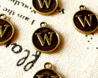 Alphabet letter W charm bronze vintage style jewellery supplies