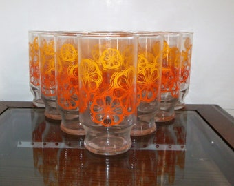 Set of 10 Retro Ombre Orange Flower Tumblers ~ Kitchen / Dining FLOWER POWER Hippie Drinking Bar Ware Glasses Water Tea High Ball Beer Glass