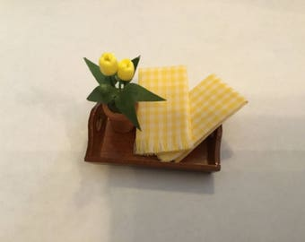 Dollhouse Miniature Yellow Checked Dish Towels 1:12 Scale