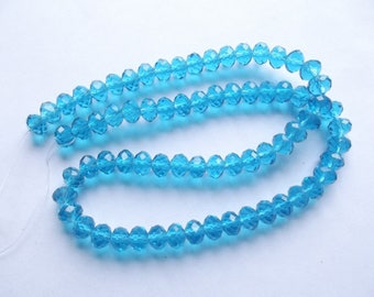 New! 70 blue faceted Crystal rondelle 8 x 6 mm Marshall 516