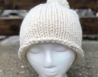 Rolled brim knit slouchy hat