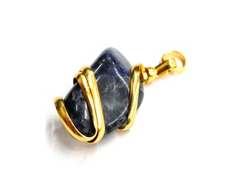 Wire Wrapped Pendant Gold Tone Spiral Tumbled Sodalite Pendant - Gold Tone Spiral Wrapped Tumbled Sodalite Pendant - (TS-107-01)