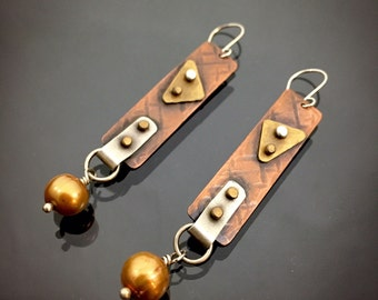 Mixed Metal Earrings with Copper Pearl!