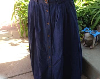 Vintage Hipster 80s ladies button down denim skirt size 14 free domestic shipping