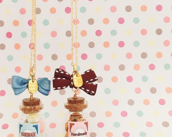 Free shipping|Whoopie pie/chocolate cookie necklace|Glass bottle necklace|Miniature food|Food jewelry|Polymer clay sweets|kawaii gift|