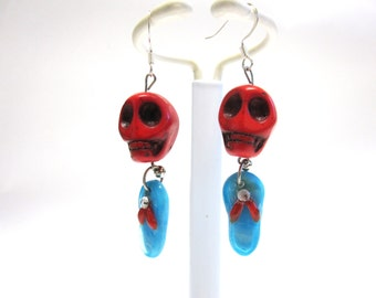 Sugar Skulls Earrings Day Of The Dead Jewelry Red Turquoise Blue Sandal Flip Flop