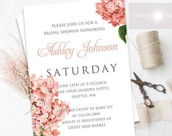 hydrangea bridal shower invitation bridal shower invite coral pink printable bridal shower