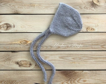 Ready to ship newborn bonnet with knitted ties-knit bonnet in Alpaca and kid mohair wool