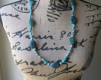 Necklace. Beaded. Turquoise. Tibetan silver. Natural Gemstones. Statement necklace. Genuine turquoise. Boho. Southwestern.