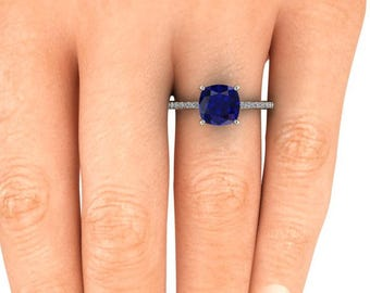 Blue Sapphire Engagement Ring, 8x8 mm Cushion Cut Blue Chatham Sapphire, 14k White Gold, Ethical Diamonds, Conflict Free Sapphire