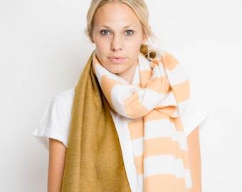 nice Merino scarf stripes – peach