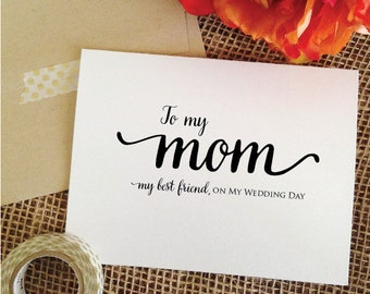 To my mom on my wedding day card gift for mother of the bride gift from daughter mother wedding gift mom wedding card to my mum (wa8mom)