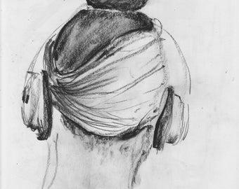 Earphones - Subway Sketch - NYC - print of original pencil drawing