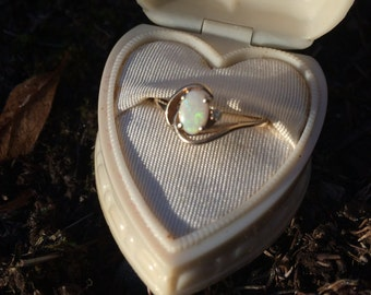 Opal and gold ring with diamond vintage ring gold swirl
