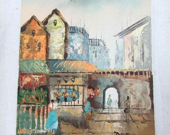 """Vintage village peinture à l'huile sur toile par DALE - 10 """"x 8"""" - sans cadre"""