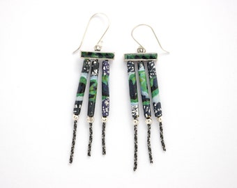 Silver Green Earrings, Green Black Earrings, Wind Chimes Earring, Gift for Women, Gift for Girls, Gift for Her,Unique Jewelry, one of a kind