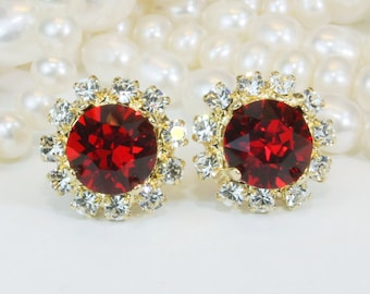 Red Gold Studs Red Stud earrings Swarovski Crystal Christmas Earrings Ruby Red Post Clear Halo Red wedding Bridemaids,Gold,Light Siam,GE95