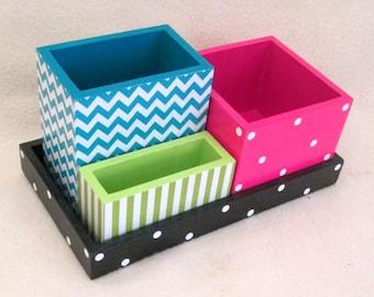 Desk Organizer - Office and Desk Storage - Office Organizer - Pencil Cup Holder - Wooden Organizer - Gift