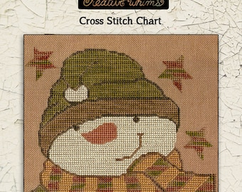 Snowmen | Primitive | Cross Stitch Chart | Downloadable PDF | EPattern | Needlework | DIY | Crafts | Sam Snowman | XS140