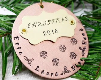 Personalized Family Christmas Ornament - Christmas Tree Ornament - Hand Stamped Metal Ornament - Customized Holiday Decor