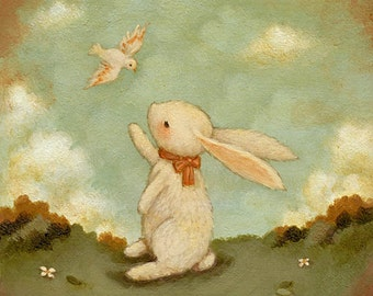Hello Bunny Print 8x8 - Bunny Print, Bunny Art, Kids Art, Bunny Art Print, Woodland Nursery Art, Bunny Rabbit Baby Art, Girl, Boy, Rabbit
