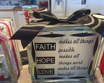 "Glass BLOCK ""Faith, Hope, Love"" inspirational, religious, faith, decals, stickers, art, craft"