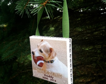 Ornament - PET Personalized Photo Ornament on Canvas - Pet Memorial, Beloved Pet, Dog, Cat, Family Pet, Pet Sympathy