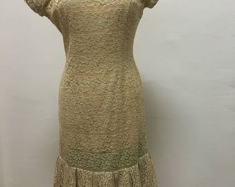 40's vintage dropped waist lace  dress