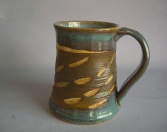 Hand thrown stoneware pottery beer mug   (BM-15)