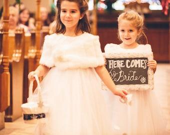 Girls faux fur shawl...flowergirl bridal shrug...girls shrug...child size shaw...winter weddings...special occasion