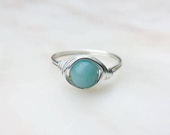 Amazonite Ring, Blue gemstone ring, Wire Wrapped ring, Sterling silver ring, Blue stone ring, Statement ring, Boho ring, Gift