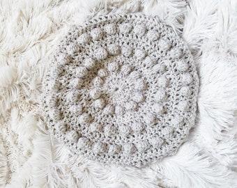 Crochet Bubble Beret in Linen Cream