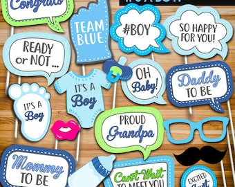 Baby Shower Photo Booth Props, Baby Shower Photo Props, Blue Boy Baby Shower Party Decor Printables, Instant Download PB21