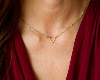 Tiny Triangle Necklace - Dainty Triangle Necklace - Dainty Open Triangle Necklace - Gold Triangle Outline Necklace - Mother's Day Gift