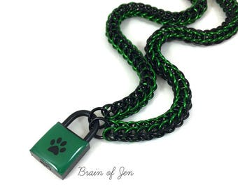 Unisex BDSM Slave Collar Green and Black Paw Print Locking Chainmail Choker Pup Kitten Sub