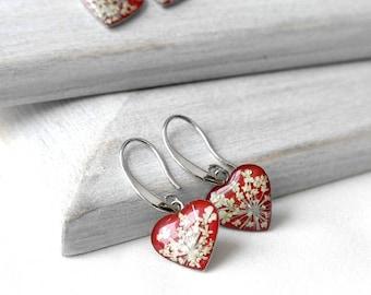 Simple earrings Red heart earrings love gift Tiny earrings beauty gifts Cute earrings for girls Red earrings for womens valentine's gift